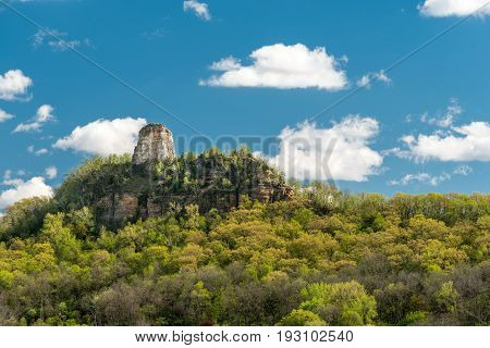Sugar Loaf Bluff in Springtime in Winona Minnesota