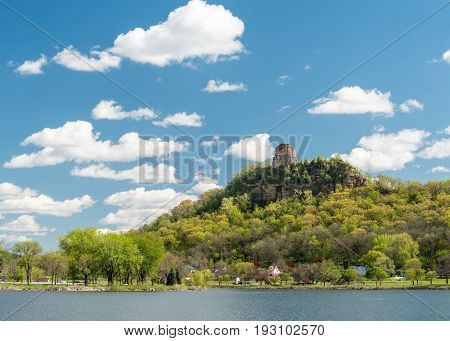 Sugar Loaf Bluff and Lake Winona in Winona Minnesota