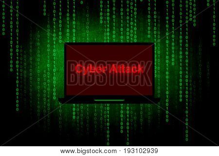 Cyber attack on Laptop screen,Computer hacker or Cyber attack concept background