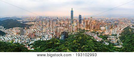 Aerial panoramic view of the Taipei skyline at dusk, Taiwan