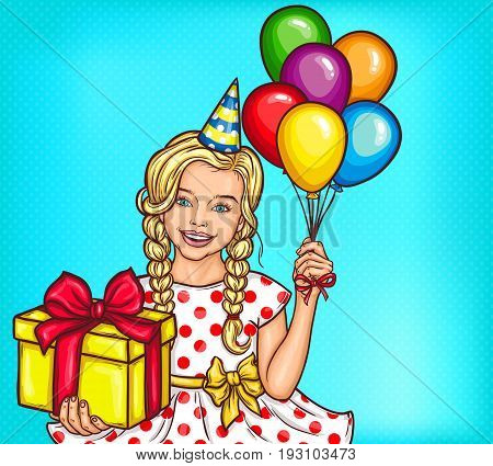 pop art illustration of a smiling little girl holding a gift and helium balloons. Greeting card on birthday