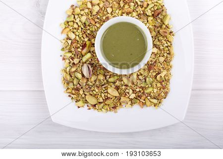 Pistachio urbech. Natural nut paste from pistachio. Dagestani useful delicacy. Top view.