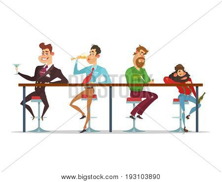 cartoon illustration of a men sitting at the bar table at various stages of drunkenness. stage of alcoholism