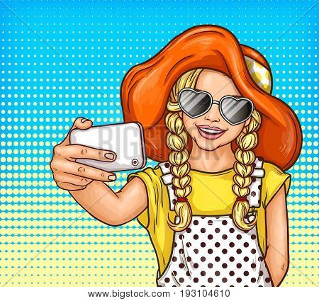 pop art illustration of a little girl with pigtails in sunglasses and vintage hat makes selfie on smartphone