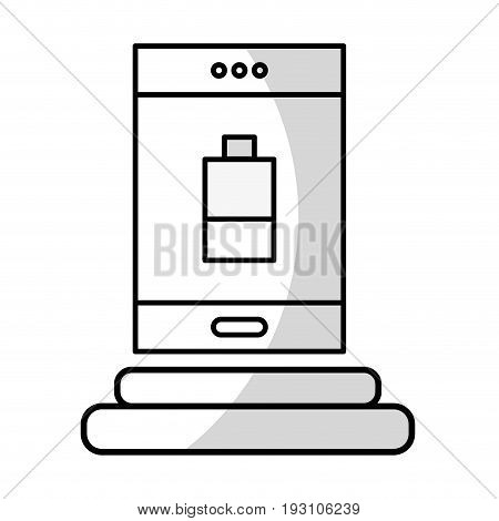 line smartphone with battery power low vector illustration
