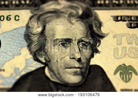 Andrew Jackson Face On Us Twenty Or 20 Dollars Bill Macro, United States Money Closeup.