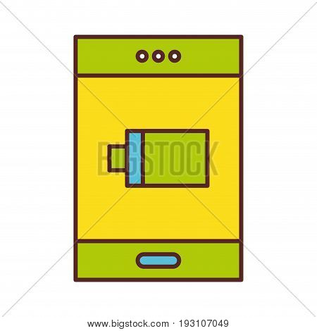 smartphone with battery power low vector illustration