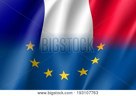 Symbol of France is EU member. European Union sign with twelve gold stars on blue and France national flag. Vector isolated icon