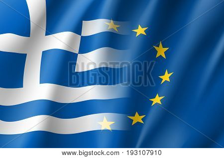 Symbol of Greece is EU member. European Union sign with twelve gold stars on blue and Greece national flag. Vector isolated icon