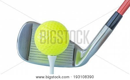The new green golf ball on tee with driver club on white background golf concept.