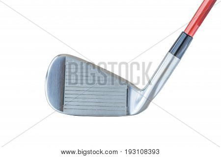 Close up the shiny metal golf driver club on white background.