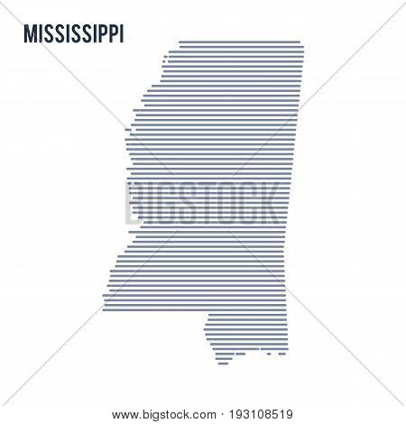 Vector Abstract Hatched Map Of State Of Mississippi With Lines Isolated On A White Background.