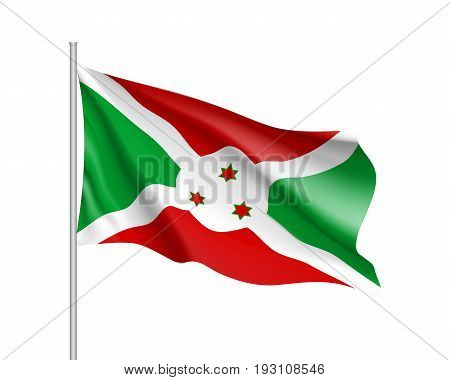 Waving flag Republic of Burundi. Patriotic sign african country in official national colors and proportion correctly. Patriotic sign Eastern Africa state. Vector icon illustration