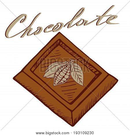 Logo chocolate with a piece of chocolate fruit kako and an inscription chocolate
