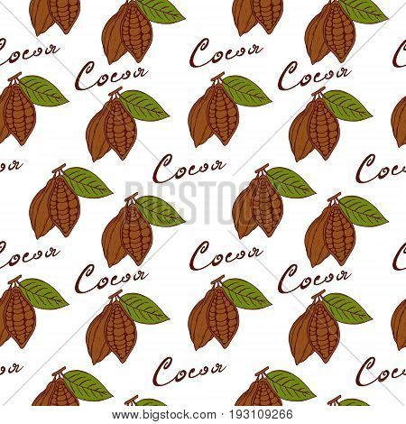 Seamless pattern cocoa fruits with green leaf inscription cocoa hand-drawn in style sketch