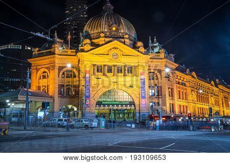 Melbourne, AUSTRALIA - June 07 2015: Flinders street station the iconic landmark of Melbourne, Australia in the night time.