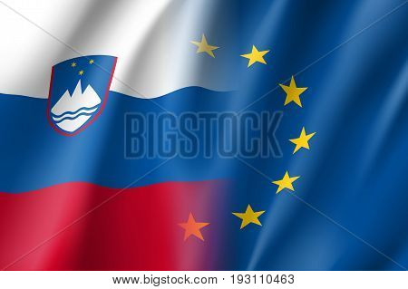 Symbol of Slovenia is EU member. European Union sign with twelve gold stars on blue and Slovenia national flag. Vector isolated icon