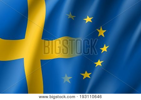 Symbol of Sweden is EU member. European Union sign with twelve gold stars on blue and Sweden national flag. Vector isolated icon