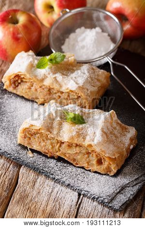 Tasty Slice Of Apple Strudel With Powdered Sugar And Mint Closeup. Vertical