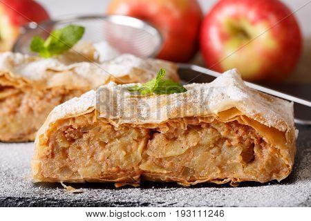 Traditional Austrian Apple Strudel Macro On The Board. Horizontal