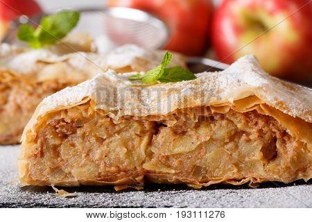 Austrian Dessert: Homemade Apple Strudel Macro On A Slate Board. Horizontal