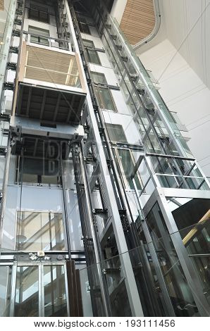 Glass see through elevators inside a mall