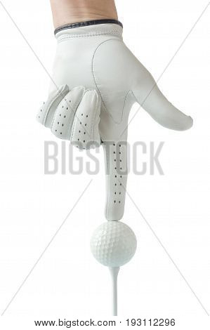 Golfer hand in white glove action with golf ball on tee with white background sport golf concept.