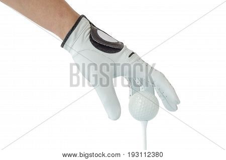 Golfer hand in white glove action with golf ball on tee with white background golf sport concept.
