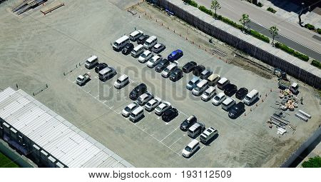 Aeria View Of A Parking Lot In Tokyo, Japan