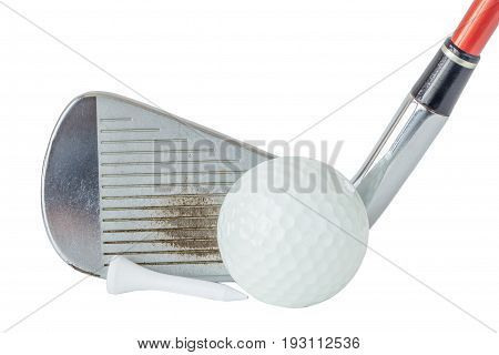 Close up the old metal golf club and ball with tee set on white background golf sport equipment concept.