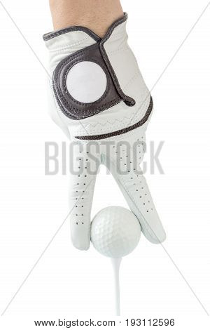 Golfer use two fingers holding golf ball place on tee with white background sport golf concept.