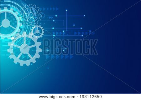 Digital hitech technology with gearwheel and Geometric network lines background