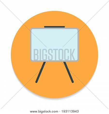 Whiteboard flat icon. Round colorful button Dry erase board circular vector sign. Flat style design