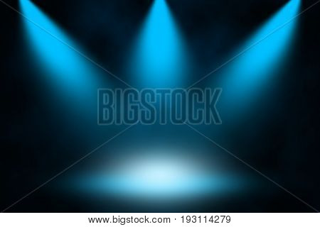 Blue light spotlight stage concept background, Blue spotlight.