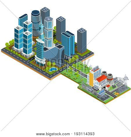 isometric 3D illustrations icons of buildings. The concept of modern urban quarter with skyscrapers, offices, residential buildings and a nearby power station