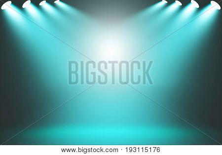 Spotlight blue on stage background, Spotlight blue.