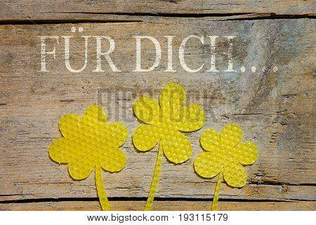 Beeswax, Three Flowers On Wooden Table, German Words, For You