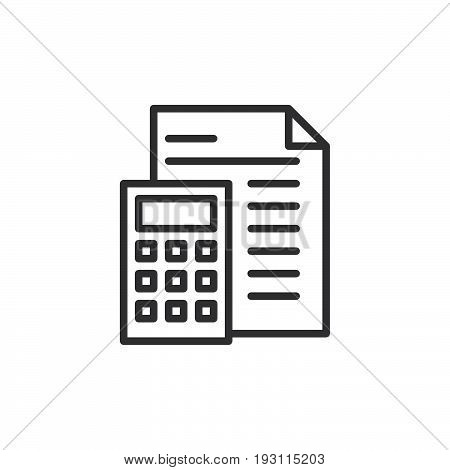 Accounting line icon outline vector sign linear style pictogram isolated on white. Symbol logo illustration. Editable stroke. Pixel perfect graphics