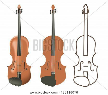 Realistic and flat wooden violin. Vector image for postcards, design and your business.