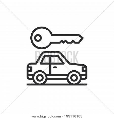 Car and key line icon outline vector sign linear style pictogram isolated on white. Rent a car Symbol logo illustration. Editable stroke. Pixel perfect graphics