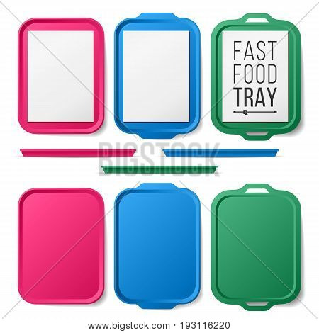 Tray Salver Set Vector. Empty Plastic Rectangular Tray Salver. Top View. Tray Isolated