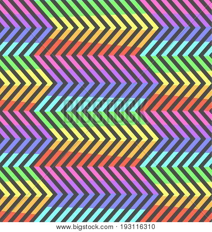 Abstract Neon Contrast Rainbow Zigzag Pattern Fashion Seamless Crankle Texture With Colorful Zigzags For Youth