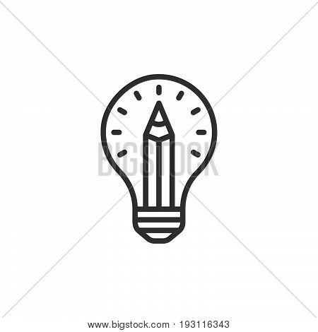 Pencil in light bulb line icon outline vector sign linear style pictogram isolated on white. Design idea symbol logo illustration. Editable stroke. Pixel perfect graphics