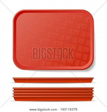Red Plastic Tray Salver Vector. Classic Rectangular Red Plastic Tray, Plate With Handles. Top View. Restaurant, Fast Food, Kitchen Close Up Tray Isolated