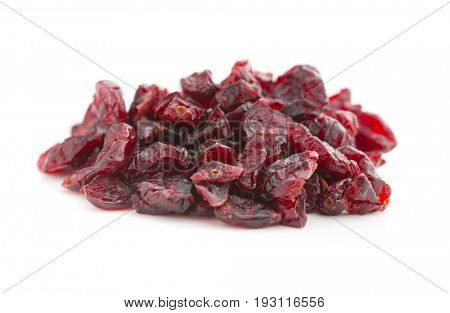 Tasty dried cranberries isolated on white background.
