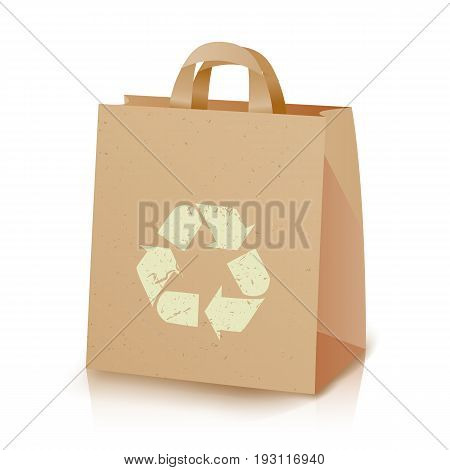 Recycling Bag Vector. Brown Paper Lunch Kraft Bag With Recycling Symbol. Ecologic Craft Package. Isolated