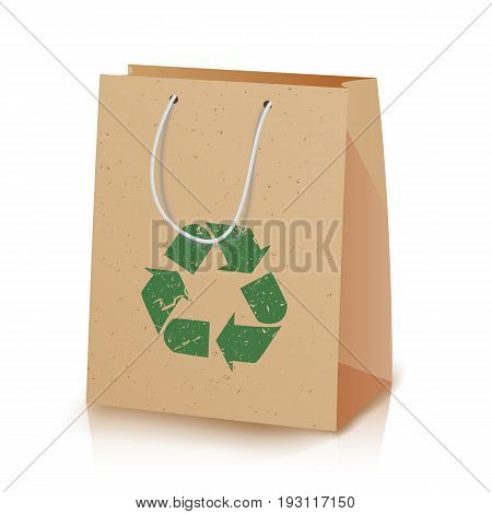 Recycling Paper Bag. Illustration Of Recycled Brown Shopping Paper Bag With Handles That Do Not Cause Harm To The Environment. Recycling Sign Icon. Ecologic Craft Package. Isolated