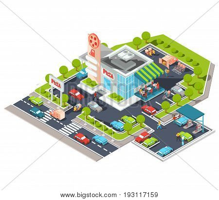 isometric illustration of a modern Italian fast food restaurant with parking and gas station. Isometric pizzeria with a giant pizza sign, Italian cuisine