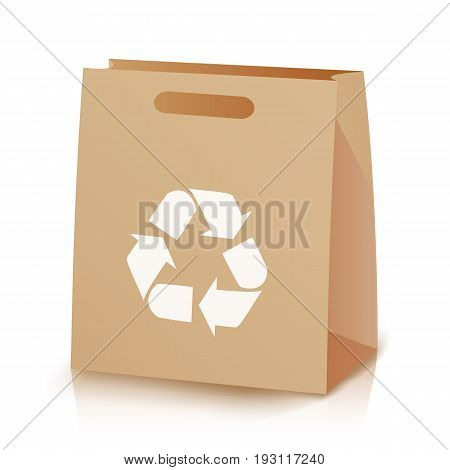 Recycle Shopping Brown Bag. Illustration Of Recycled Brown Shopping Paper Bag With Handles. Recycling Symbol. Isolated