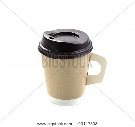 Close up take-out coffee with brown cap and cup holder. Isolated on white background